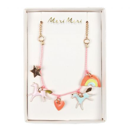 Meri Meri Enamel Rainbow Unicorn Charm Necklace